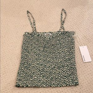 Green and White floral Reformation tank top